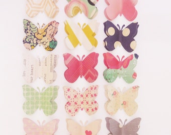 Collection 16 - decorative push pins / thumb tack or memo clips - large paper butterflies - made to order