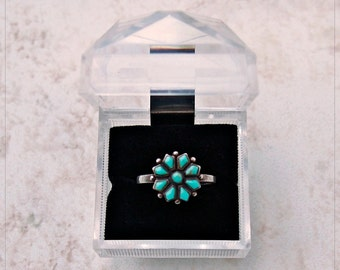 Vintage ZUNI PETiT POiNT .925 STERLING & TURQUOISE RiNG ~ Size 7 3/4 w Gift Box
