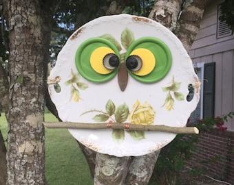 Handmade Owl Plate Recycled  Assemblage Hoot Owl OOAK  Yard Art Kitchen