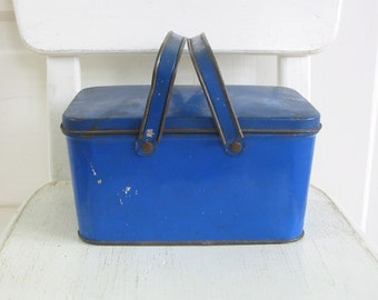 Vintage Blue Lunch Box, Blue Tin, Lunch Tin, Blue Metal Box, Vintage Storage, Metal Lunch Box