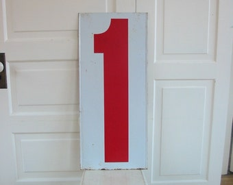 Vintage Metal Number Two 2 One 1 Red White Sign Art Wall Hanging Industrial Decor