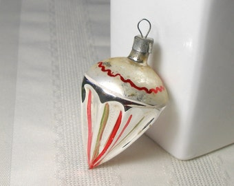 """German Teardrop Ornament - Stunning Blown Glass 1930s Germany Ice Cream Cone Parachute Ivory Top - Unusual and Pretty Rare Shape 3"""" Tall"""