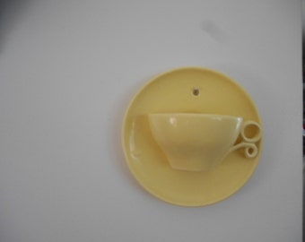 Vintage Pottery Yellow Cup and Saucer Wall Pocket Wall Hanging