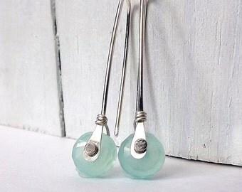 Rivet Earrings Aqua Chalcedony Sterling Silver Open Hoop Dangle Earring Riveted Gemstone Jewelry for Women