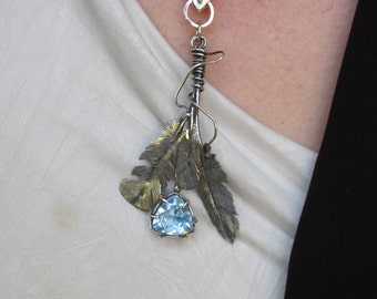 Sterling Silver Sky Blue Topaz Brutalist Feather Pendant