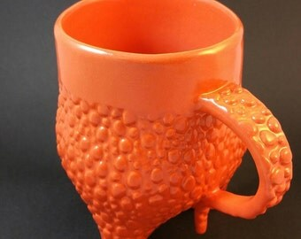 Brilliant Orange Cobblestone Texture Handmade Ceramic Mug