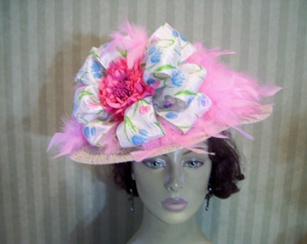 Kentucky Derby Hat Pink Preakness Hat Easter Hat Tea party Hat Ascot Hat SASS Hat Church Hat By Ms.Purdy