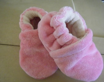 Hand Dyed Bamboo Velour/fleece Soft Sole Shoes