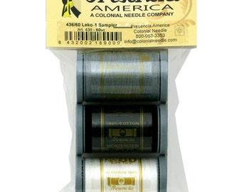 Cotton Thread 60wt Leko Sampler #1 by Presencia - Three Colors, 654 Yards Each