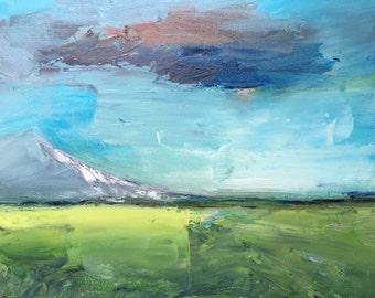 Mountain landscape, original oil painting on canvas