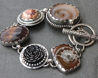 RESERVED for Lezli oOo fossil shell, amethyst/cacoxenite, fossil coral, ammonite fossil and sterling silver metalwork bracelet