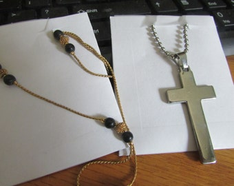 Cross with black gold beads
