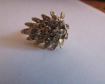rhinestone leaf ring