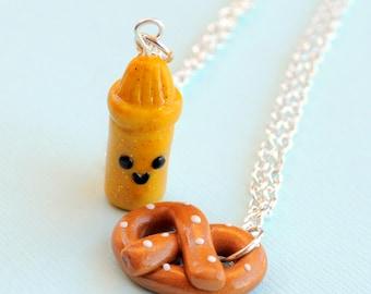 Best Friend, Best Friend Necklaces, Clay Best Friend Necklaces, Friend Necklaces, Pretzel and Mustard Charms
