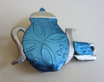 Teapot and tea cup pin brooch in blue and silver