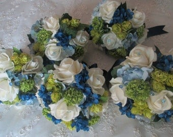 Reserved listing for....Ferris Beashau....Package Classic Navy White Realtouch Rose Silk Blue Hydrangea Hops Bridal Bridesmaids Bouquet Set