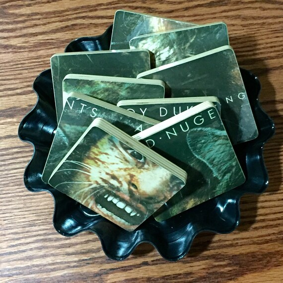 TED NUGENT and The Amboy Dukes recycled album cover coasters vinyl basket