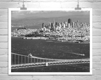 Golden Gate, Black and White, San Francisco Photo, Skylines, Cityscapes, Urban Photography, Fine Art Print, California Art, Art for Office