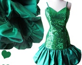Vintage 80s Dress M Green Sequin Bubble Balloon Full Skirt Party Prom Dance Cocktail Dress Spaghetti Straps Glam Alyce Design