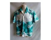 Vintage 60s Shirt Size L Turquoise Blue Cotton Hawaiian Palm Leaf Luau Tiki 50s