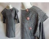 Vintage 80s Dress Size 8 Heather Grey Cotton Pinstripe Oversized Button Drop Shoulder Secretary Shift 90s