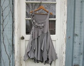 S-M Ruffled Gray Reconstructed Summer Dress// Upcycled// Monochromatic// emmevielle