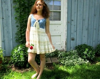 Med. Shabby Chic Country Denim Tank Top Tunic// Upcycled// Summer// emmevielle