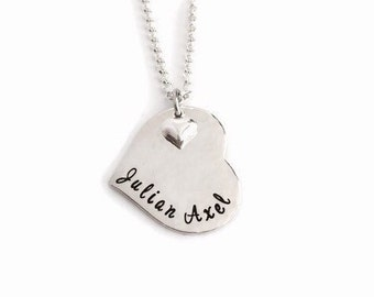 Heart Shaped Hand Stamped Sterling Silver Name Tag Pendant with Necklace