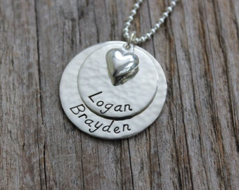 Classic Double Stack -- Hand Stamped Sterling Silver Double Stack with Puffy Heart Name Tag Necklace