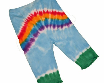 Rainbow Baby Pants in Light Blue and Vibrant Rainbot Tie Dye- Size 18 months and READY TO SHIP