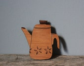 Coffee Pot Brooch - Wooden Retro Percolator
