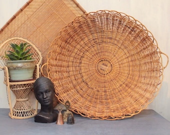 large round natural rattan basket with handles - shallow wicker wall basket - boho wall decor