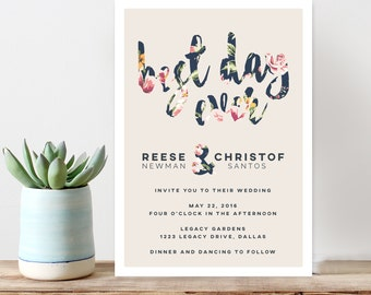 Vintage floral wedding invitation, best day ever, modern wedding invitation, custom wedding invitation, navy floral printable invitation