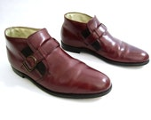 vintage 1970s 1980s cordovan RED leather monk ankle boots BEATLE buckle strap FLORSHEIM mens 9 1/2 hipster boho chelsea mod bohemian