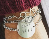 New Open Link, Raised Heart, Oval Sterling Silver Center Bracelet, MAMA BEAR Bracelet and LOVE bracelet