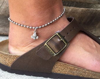 Stainless Steel Bead Chain Anklet with Sterling Silver Bee Charm
