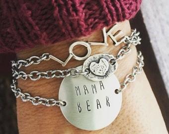 New Open Link, Raised Heart, Oval Sterling Silver Center Bracelet, MAMA BEAR Bracelet and LOVE bracelet