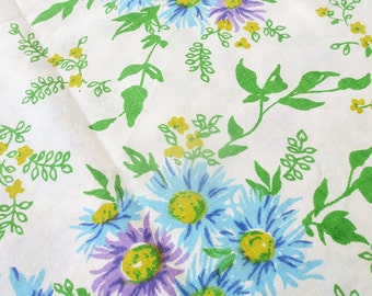 Vintage Floral Twin Flat Sheet -  Straw Flower - Blue, Purple, Green