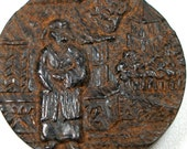 LG Antique WOOD BUTTON, Oriental theme on carved wood button, 1""
