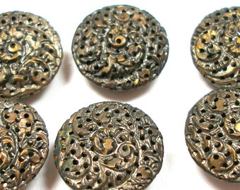 6 Vintage BUTTONS, Set of pierced metal with fern, plant life design.