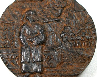 """LG Antique WOOD BUTTON, Oriental theme on carved wood button, 1"""""""