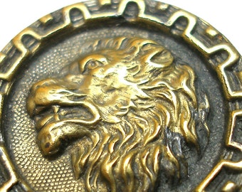 LG Antique LION BUTTON, Victorian animal head in profile.