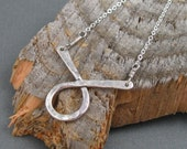 Sterling silver loop necklace, sterling hammered loop on sterling silver chain, artisan handmade necklace