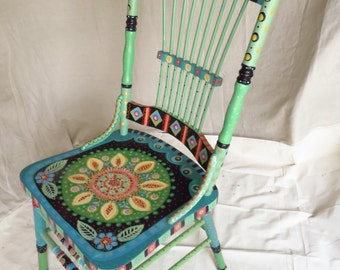 CHAIR-Hand Painted Wooden Chair, Bright, Charming, Great Design, One Of Two