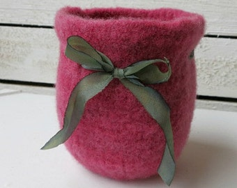 Felted Wool Bowl - Hand Knit Hand Felted Pink Wool Bowl - Pink and Green Wool Felt Bowl