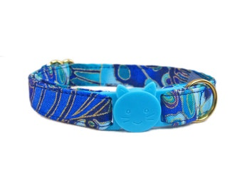 Cat Collar Breakaway - Fancy Collar for Cats - Blue Cat Collar - Gold Cat Collar - Safety Collar for Cats - Safe Cat Collars