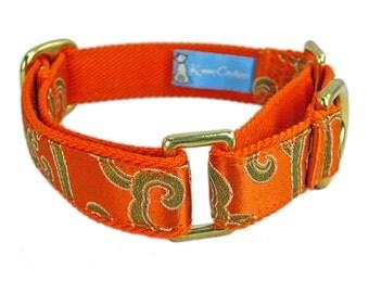 Small Martingale Dog Collar - Orange Dog Collar - Collar for Italian Greyhound - Fancy Dog Collar - Gold Dog Collar - Custom Dog Collar