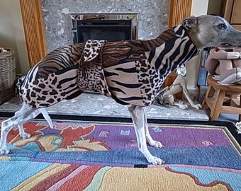 Bespoke IG/Whippet/Greyhound Fleece Coat with Chest Piece - Patchwork Animal