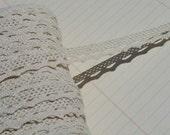 "Cream Cluny Lace - Narrow Natural Cluny Crochet Torchon Trim - 1/2"" Wide"