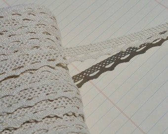 "Cream Cluny Lace - Narrow Natural Cluny Crochet Torchon Trim - 1/2"" Wide"